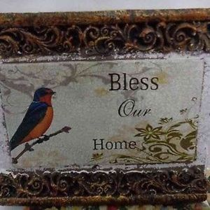 Bless Our Home Bird Cement Wall Plaque